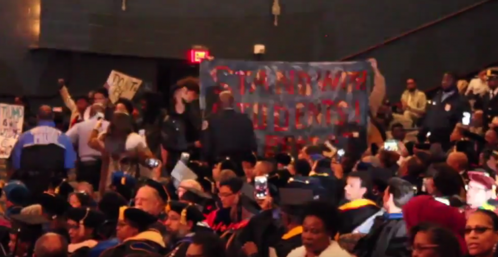 Protesters interrupt 150th Charter Day