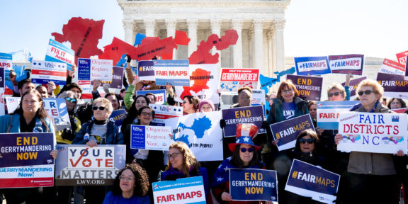 A rally to end gerrymandering outside the Supreme Court on 3/26/19, as the Justices hear a Maryland and North Carolina case on gerrymandering.